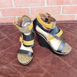 Multicolor Waven Wedge Plataform Sandals